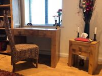 Immaculate Solid Mango Wood Desk, Chair and Side Table - perfect for study, home office or bedroom