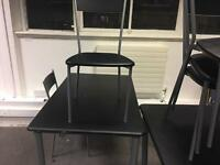 Tables, chairs and a glass table available