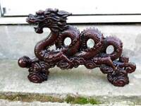 """STUNNING CHINESE RED RESIN DRAGON 12"""" LONG MINT CONDITION"""