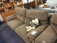 Light Brown Fabric 3 Piece Sofa Set
