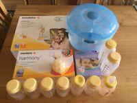 Medela Swing & Harmony Breast Pump, Microwave sterilizer, Lansinoh breast milk storage bags etc