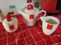 Quirky teapot, cream and sugar pots from the Tag range
