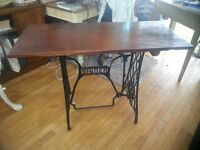 A Beautiful Antique Mahogany Top Table on a Singer Sewing Machine Base