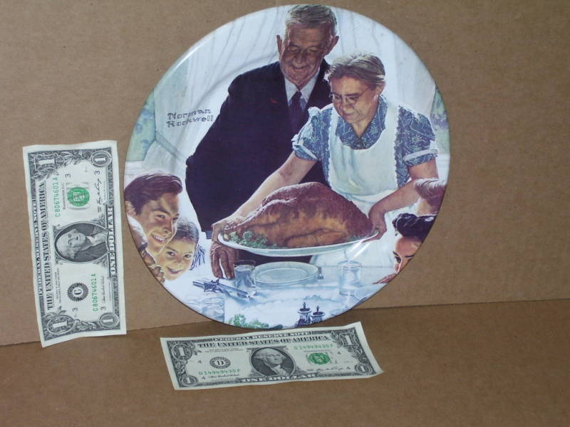 NORMAN ROCKWELL 1979 - Freedom From Want THANKSGIVING OLD Metal PLATE Dated 1979