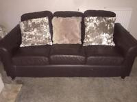 Brown Faux Leather Sofa and Chair