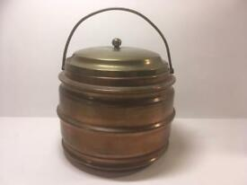 Vintage Copper And Brass Tea CaddyOr Ice Bucket