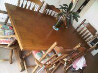 Oak Table & Six chairs