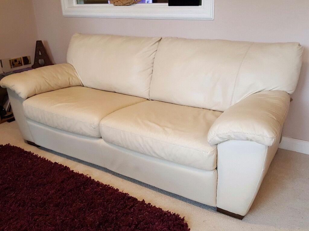 cream leather sofabed 3seater vreta model by ikea 210cms in pontyclun rhondda cynon taf gumtree. Black Bedroom Furniture Sets. Home Design Ideas