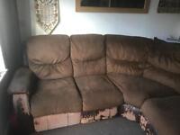 Harveys left corner brown fabric recliner sofa for sale £50