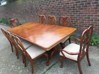 Large dining table and 8 chairs delivery poss
