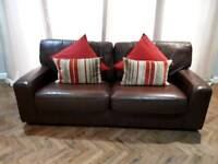 Sofa - 3 seater brown leather M&S sofa