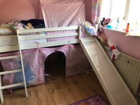 Single bed and slide including Disney princess tent