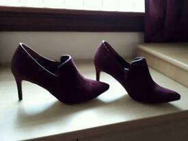 Burgundy suede shoe boots and bag
