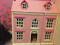 3 storey dolls house with camper van and furniture