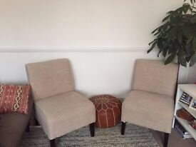 Pair of Beige Slip Chairs - Perfect Condition