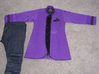 Boys purple and black Indian Suit (Sherwani suit) Age 7, brand new, £10