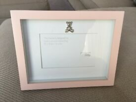 John Lewis Baby - pink picture frame with silver teddy motif - unused