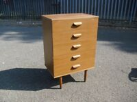 Lovely Retro Teak Chest Of 5 Drawers 70's Era