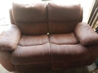 Brown Faux Suede 2-Seater Sofa - Recliner