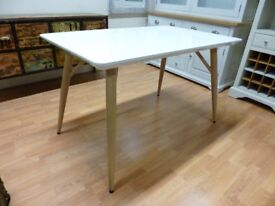 Furniture Mill Sale OAK LOOK METAL AND WHITE GLOSS DINING TABLE Furniture Mill Sale