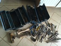 Tools and two metal tool boxes