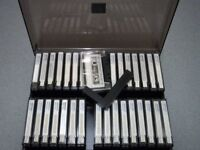 34 x qty Vintage Memorex MRX2 blank used cassettes tapes side opening In Carry case