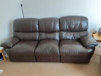 BROWN LEATHER SETTEE AND ONE ARMCHAIR