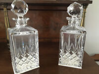 Pair cut glass decanters