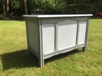 Hand Painted Vintage Oak / Veneer Shabby Chic Coffer in Two Shades of Grey