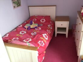 Full size 3ft single wooden bed And bed side table with mattress Excellent condition like new