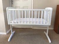White baby crib Mothercare v good condition