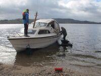 Motor Cruiser, Shetland 640, recently refurbished, good family boat, stored at Balmaha boat yard
