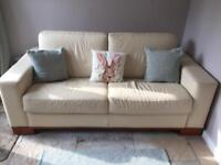 Cream real leather sofa bed fantastic condition