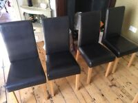 4 x Faux Leather Dining Chairs