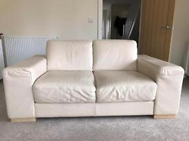 Two 2-Seater Cream Leather Sofa's