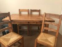 Handmade solid country style table and chairs