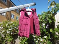 M&S Girls Bodywarmer Age 2-3 - burgundy with hood - excellent condition