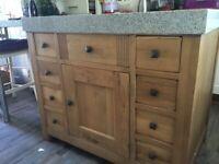 Solid oak Kitchen Island storage unit with granite top for sale  Swansea