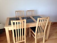 Dining room table and 4 chairs, hardly used, £80