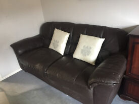 • A 3 seater and a 2 seater both in brown leather and in good condition