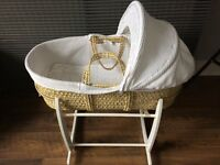 John Lewis Waffle Moses Basket, with Clair De Lune White rocking stand