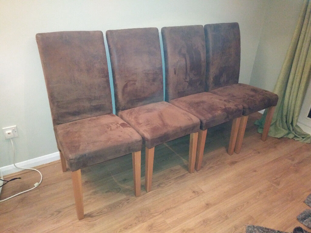 4 brown faux suede high back dining chairs