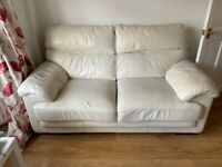 3 seater and a two seater Leather Sofa suite and foot stool