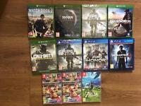 Games for Xbox one PS4 and switch including mario kart 8 zelda sniper 3 mass effect