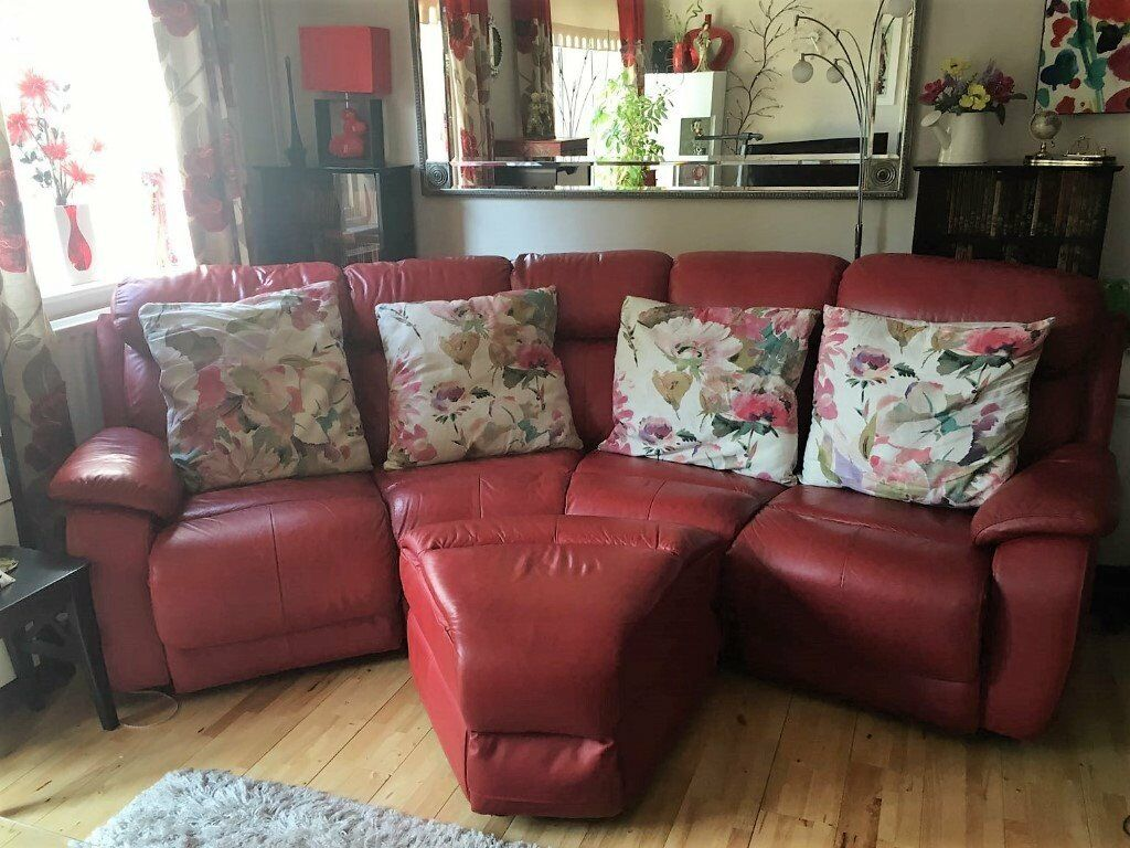 4 Seater Daytona Leather Dfs Curved Red Double Recliner Settee Sofa In Southwark London