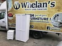 solid white wood wardrobe and locker