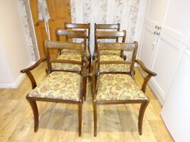 Set of six dining chairs, including two carvers