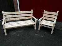 Hand made kids bench and chair