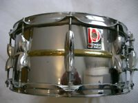 "Premier Model 21 beaded brass snare drum 14 x 6 1/2""-Leicester - '80s Ludwig 402- original version"