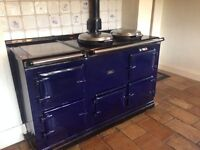 Beautiful navy blue enamel gas AGA. Four oven and warming plate. Buyer dismantles and collects.